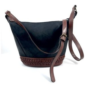 Vintage black and brown woven leather bucket bag